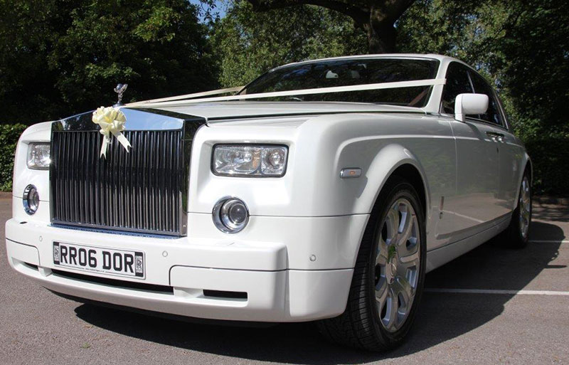 Rolls Royce white wedding car