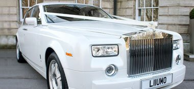 Pearl White Phantom wedding car