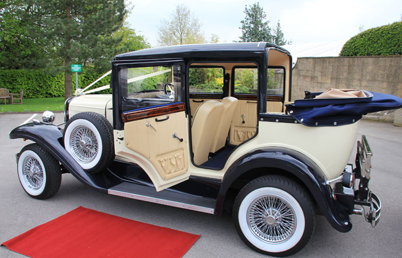 Wedding car with door open to show interior
