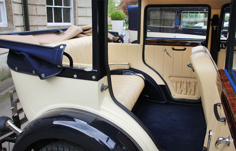 Close up of the vintage cars interior