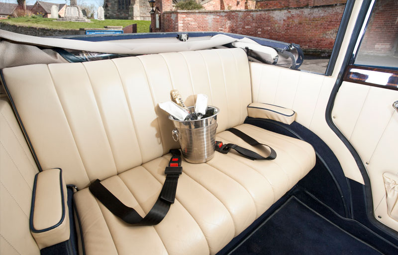 Back seat of the classic car