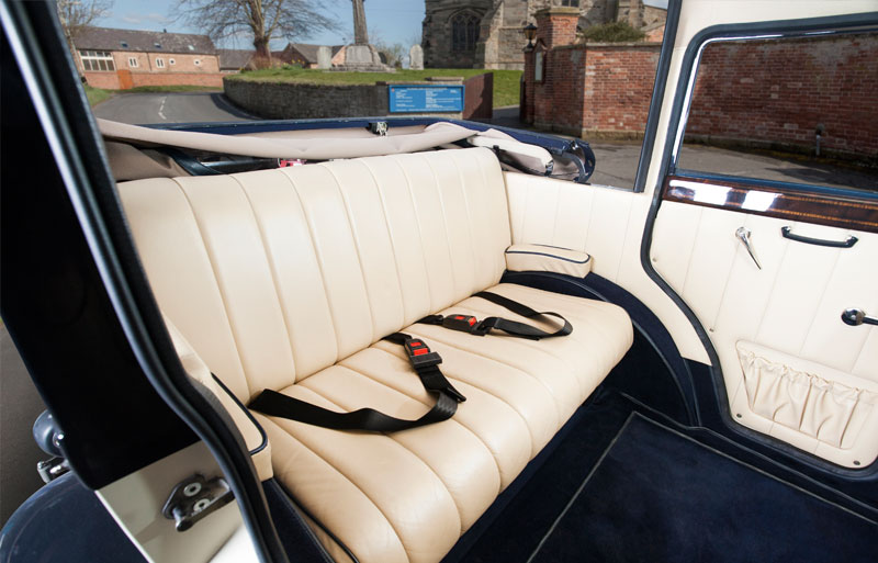 Inside view of wedding car with the roof down