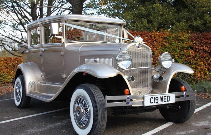 Front view of the Badsworth vintage wedding car