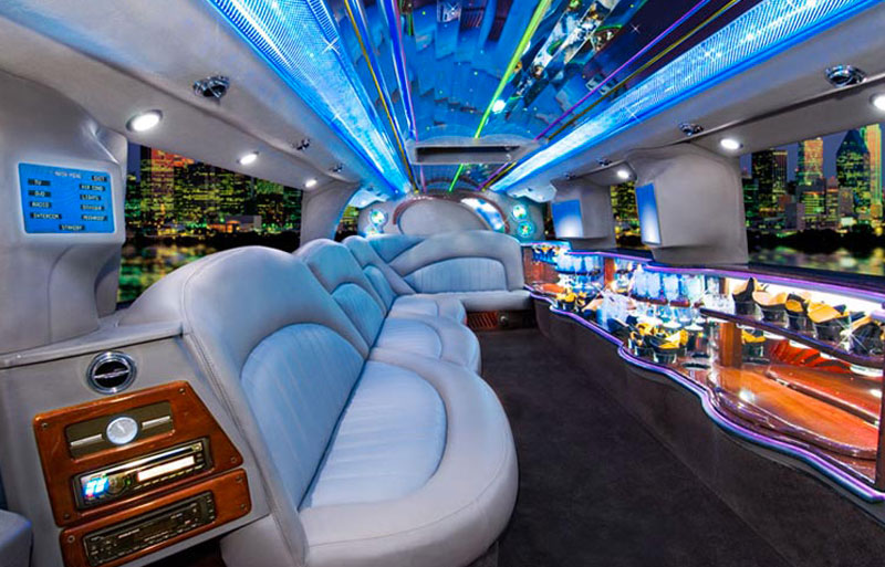 inside photo of the White hummer limo