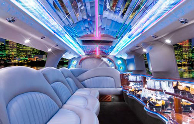 inside shot of theWhite hummer limo