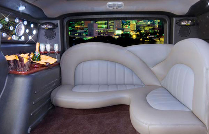 colour matching interior of the White hummer limo