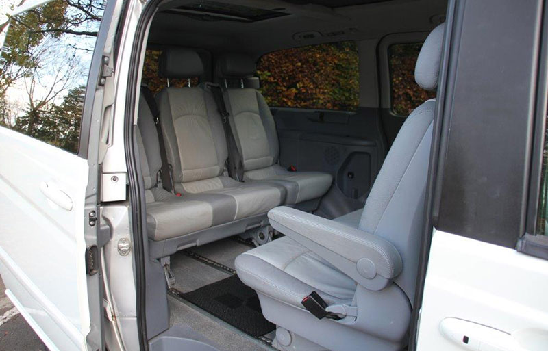 Inside view of the Mercedes Viano with table taken out