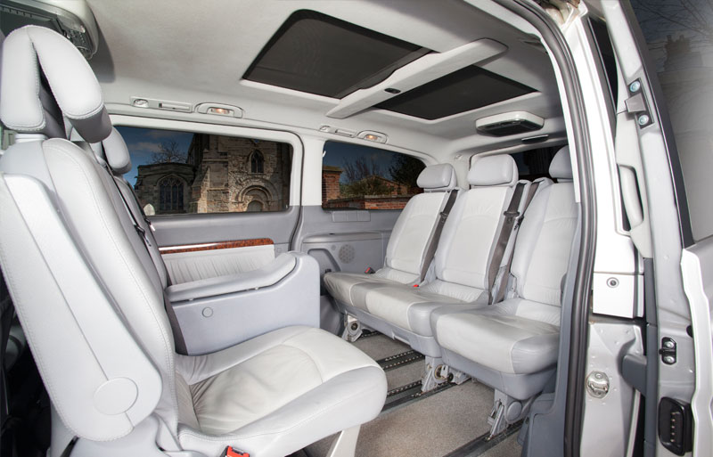 Shot of the inside of the car with all seats on show