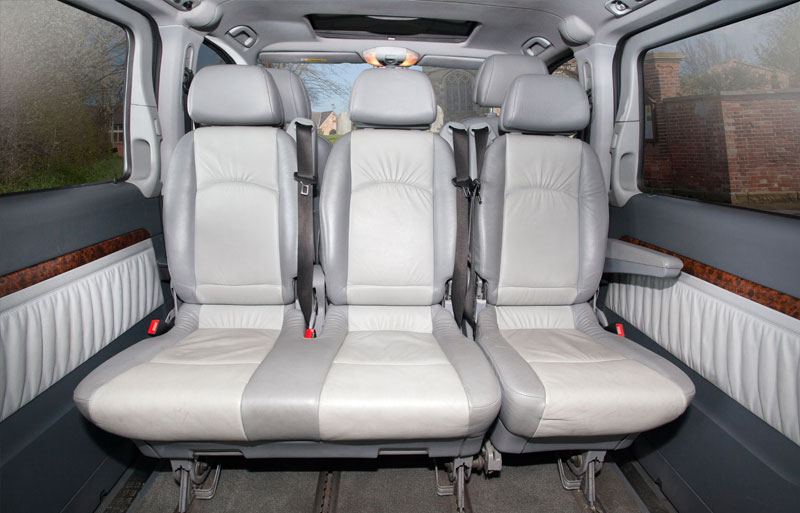 Close up view of Mercedes Viano wedding cars back seat