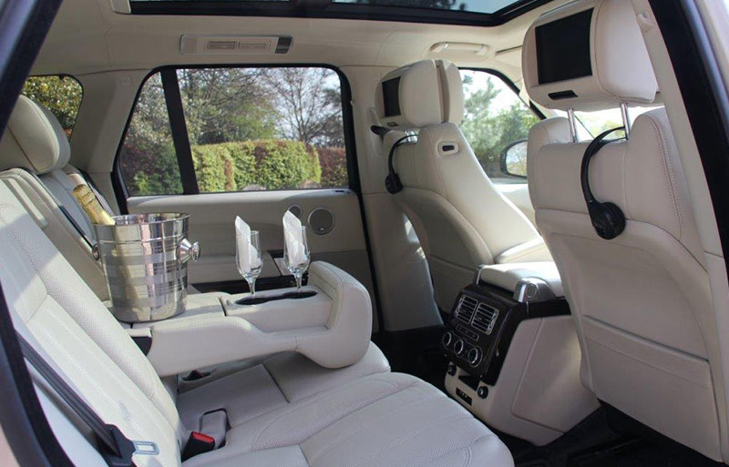 Inside photo of the Range Rover wedding car