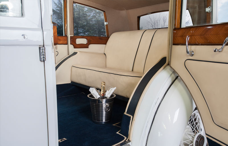 Inside view of the Rolls Royce wedding car