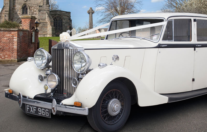 Close up of the front of the vintage Rolls Royce