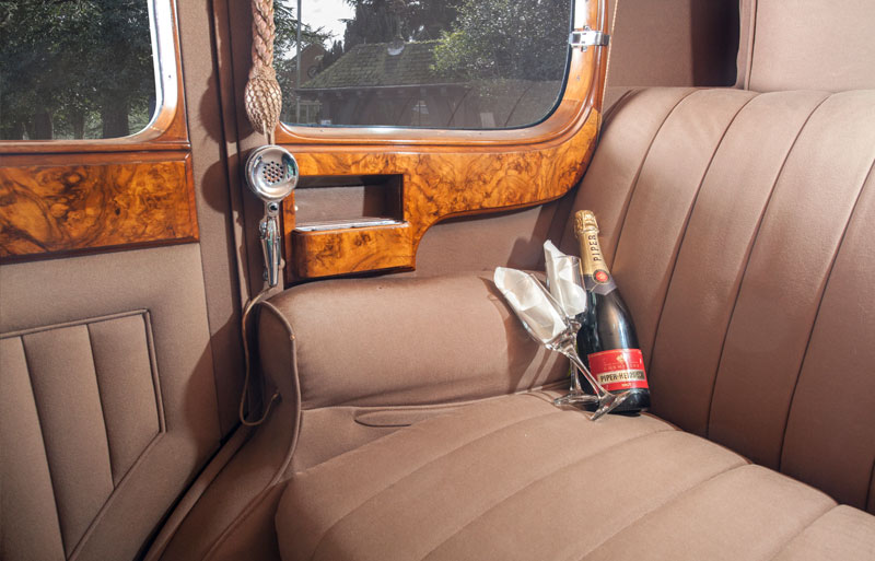 View from the back seat of the vintage wedding car