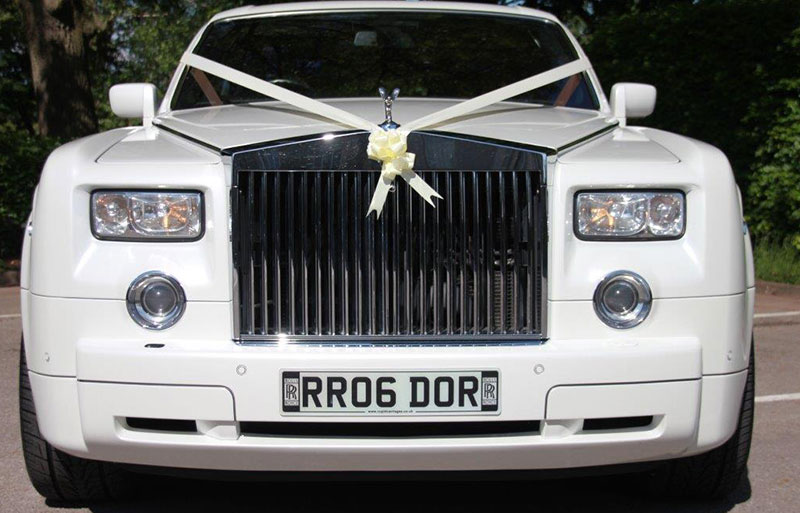View from the back of the modern Rolls Royce wedding car