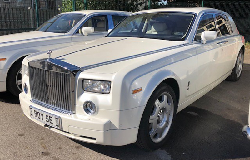 Silver Rolls Royce Phantom wedding car