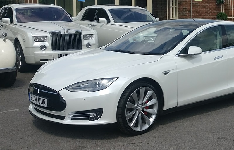 Tesla executive wedding car
