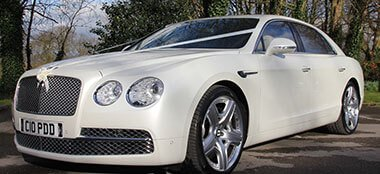 Pearl White Bentley Continental wedding car